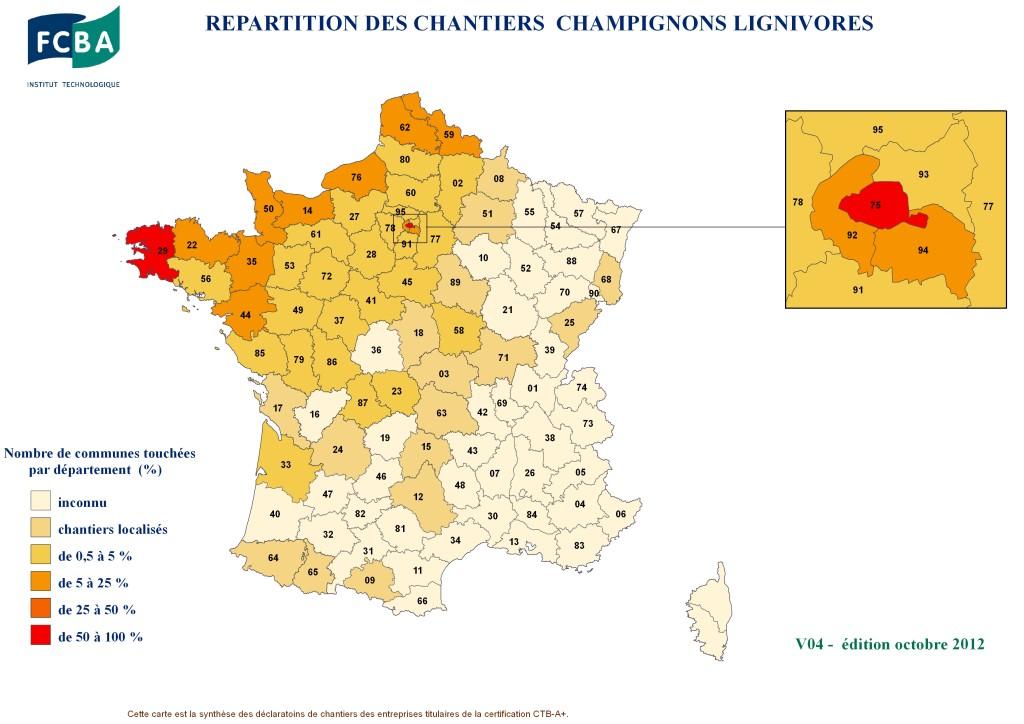 carte de la mérule en France