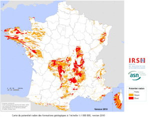 carte du potentiel radon en France